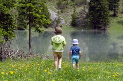Children hiking in Dolomites