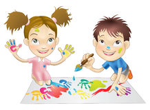 Free Two Young Children Playing With Paints Stock Photos - 15227893
