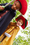 Two young children in theater play. With pirates costumes Royalty Free Stock Image