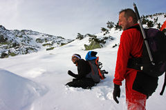 Two young climbers having fun in Retezat mountains, Romania Stock Images