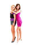 Two young club style beautiful girls Royalty Free Stock Photos