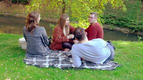 Two young couples enjoying a picnic in a park