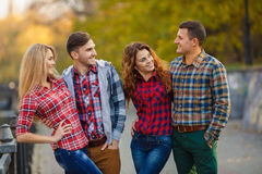 Two young couples spend time in the Park Royalty Free Stock Images