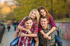 Two young couples spend time in the Park Royalty Free Stock Photos