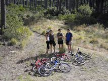 Two young couples standing near mountain bikes Royalty Free Stock Photos