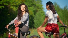 Two young cyclists communicate and laugh on a Cycling trip in the Park, on a Sunny summer day. Telephoto shot stock footage