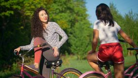 Two young cyclists communicate and laugh on a Cycling trip in the Park, on a Sunny summer day. Telephoto shot stock video