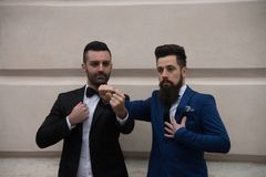 Two friend shaking hands, elegant clothes, half-length royalty free stock photos