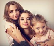 Two young emotional beautiful smiling women and happy joying fun Royalty Free Stock Photos