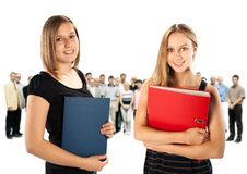 Two young employees Stock Images