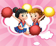 Two young and energetic cheerdancers vector illustration