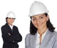 Two young engineers Stock Images