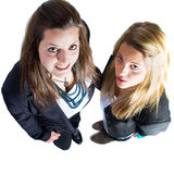 Two young european business teenaged girls Royalty Free Stock Photography