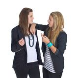Two young european business teenaged girls Stock Images