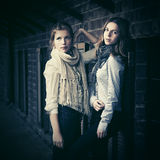 Two young fashion girls next to brick wall Royalty Free Stock Photos