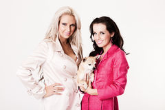 Two young fashion models with their dog Royalty Free Stock Photography