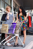 Two young fashion women with shopping cart in the mall Stock Image