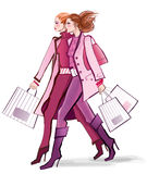 Two young fashionable women shopping Stock Image