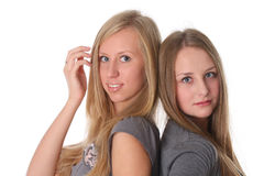 Two young female friends smiling Stock Photo