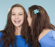 Two young female friends whispering gossip Royalty Free Stock Photography
