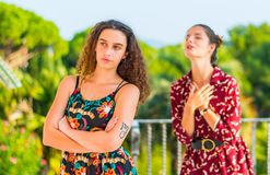 Begging for forgiveness from a friend. Two young female girls having a vivid conversation on the park. A vivid argument and discussion between friends. Asking an royalty free stock image