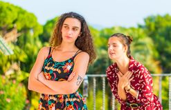 Begging for forgiveness from a friend. Two young female girls having a vivid conversation on the park. A vivid argument and discussion between friends. Asking an stock photo