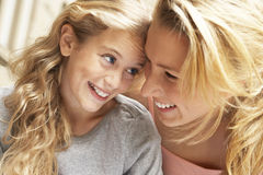 Two young females laughing. Royalty Free Stock Photo