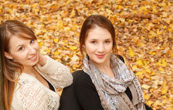 Two young females outdoors. Two young females in autumn forest sitting looking at camera Stock Image