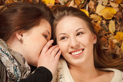Two young females outdoors Stock Photos