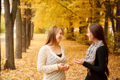 Two young females outdoors. Two young females talking in autumn forest smiling Stock Image