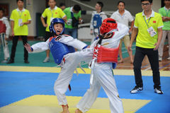 Two young fighters--The seventh GoldenTeam Cup Taekwondo friendly competition Stock Images