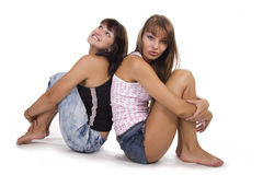 Two young friend girl happiness Stock Photo