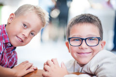 Two young friend. Looking at the camera Royalty Free Stock Photography
