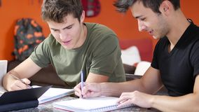Young men busy with studies. Two young friends doing homework with tablet while sitting at table with notebooks stock video