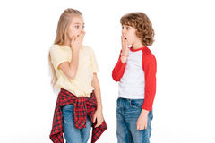 Two young friends with shocked expression Stock Photo