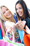 Two young friends shopping together Stock Photos
