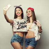 Two young funny women Stock Photo