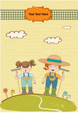 Two young gardeners who cares for flowers. Two funny gardeners who cares for flowers Royalty Free Stock Images