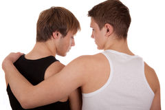 Two guys. Two young gay men hugging each other Stock Images