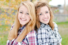Two young girl friends Stock Image