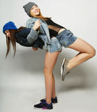 Two young girl friends having fun together. Stock Photography