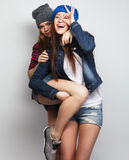 Two young girl friends Royalty Free Stock Photo