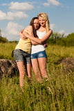 Two young girl friends at summer day Stock Photo