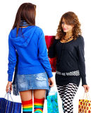Two young girl out shopping Stock Image