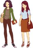 Two Young Girl Tomboy and Feminine Vector Illustration. For many purpose such as print on note book, paper, stationery, etc Vector Illustration