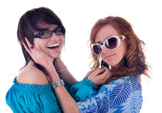 Two young girlfriends Stock Photos