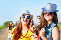 Two young girlfriends having fun Royalty Free Stock Photography