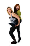 Two young girlfriends having fun Royalty Free Stock Photo
