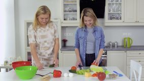 Two young women cooking salad at the kitchen together at home. Two young girlfriends spend their leisure time together and cooking a fresh salad at the kitchen stock video