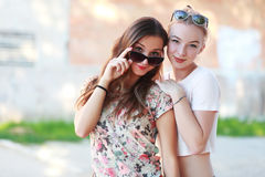Two young girlfriends royalty free stock image